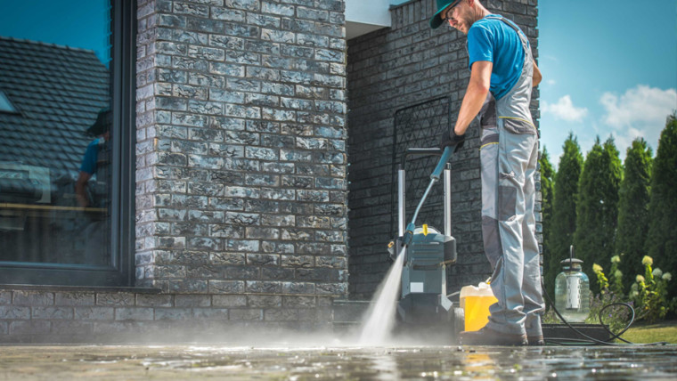 pressure washing the outdoor areas